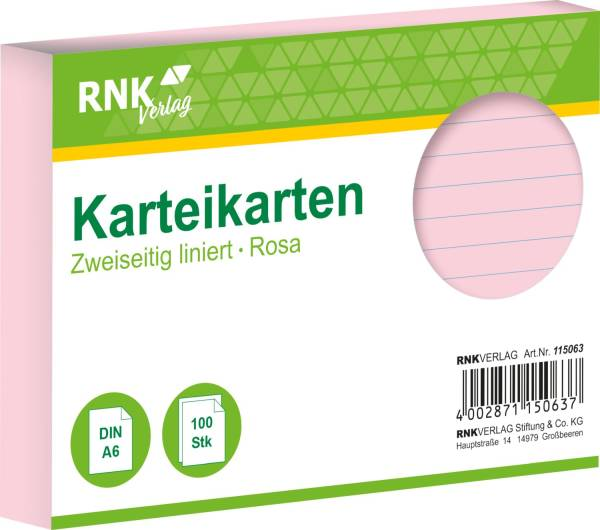 Karteikarten DIN A6, liniert, rosa, 100 Karten