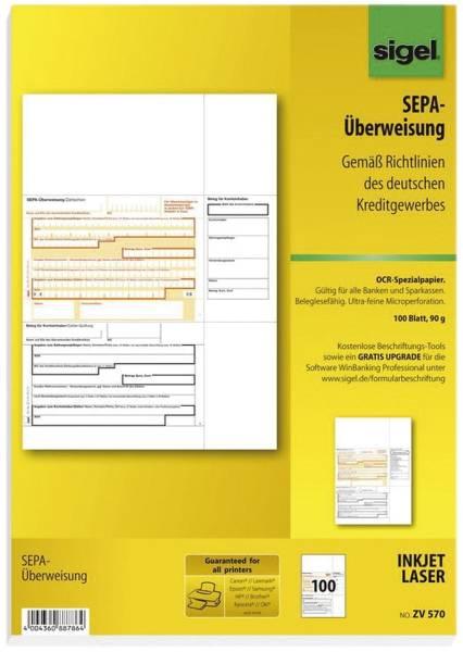 SIGEL PC-Formular Sepa -Überweisung ZV570 A4 100BL 90g