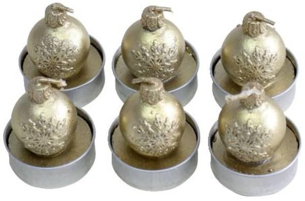 """Teelichter Weihnachten """"Kugel mit Schneeflocke"""" gold, 6 Stück"""