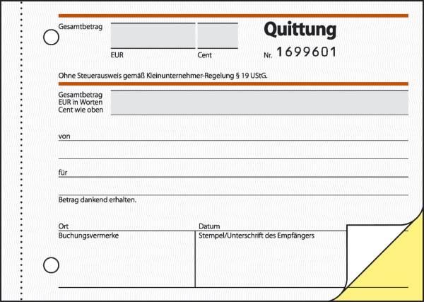 SIGEL Quittung A6q 2x30BL SD SD120 f.Kleinunternehmer
