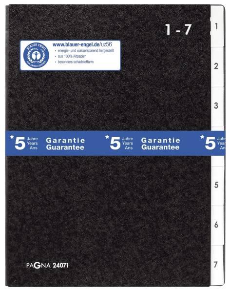 PAGNA Pultordner 1-7 schwarz 24071-04 Hartpappe 7tlg
