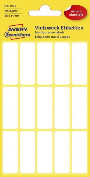 3076 Mini Organisations Etiketten, 38 x 14 mm, 6 Blatt 90 Etiketten, weiß