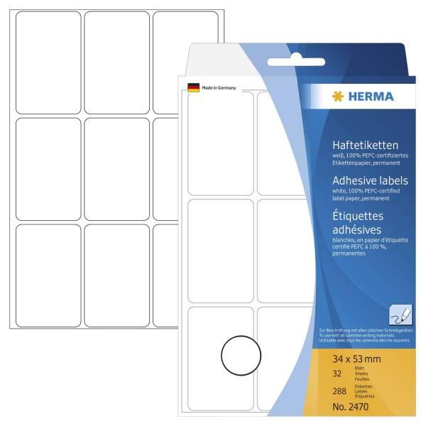 HERMA Etiketten 34x53mm 288 Stück weiß 2470 permanent haftend
