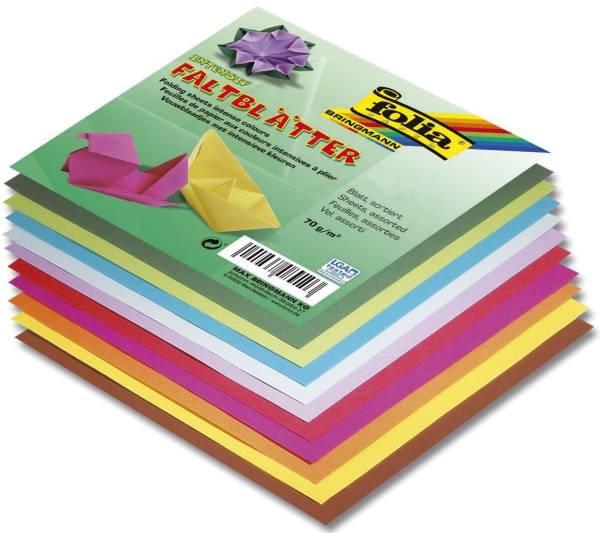Faltblätter 12 x 12 cm 10 Farben sortiert, 500 Blatt, 70g qm
