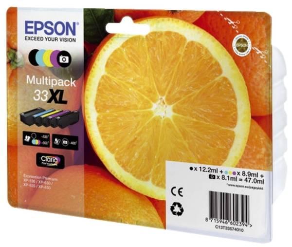 EPSON Inkjetpatrone Nr. 33XL sw,c,m,y C13T33574011