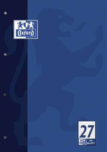 Schulblock Lin 27 A4, 50 Blatt, 90 g qm, 4 fach Lochung