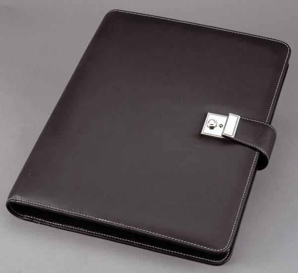 Dokumentenmappe LIMONE mit Schloß A4, Lederimitat, schwarz