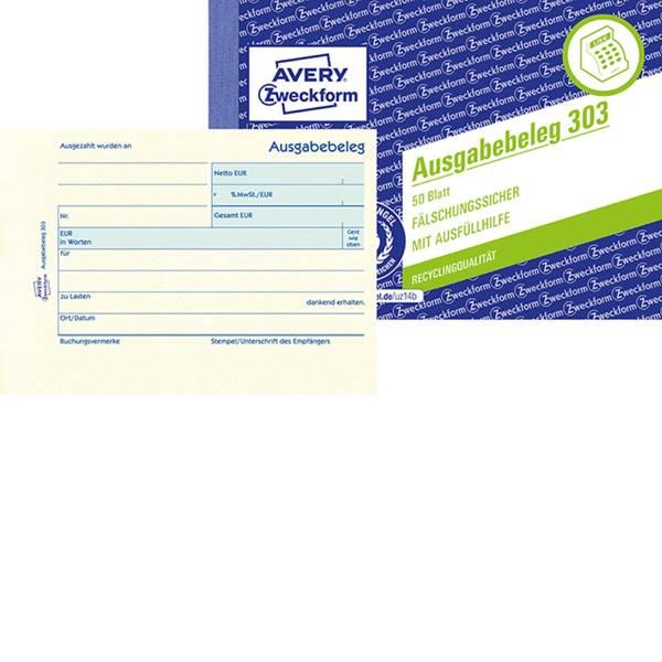 AVERY ZWECKFORM Kassen Ausgabebeleg gelb 303