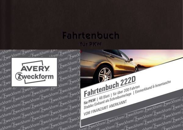 AVERY ZWECKFORM Fahrtenbuch A6 Pkw A6q 48Bl 222D