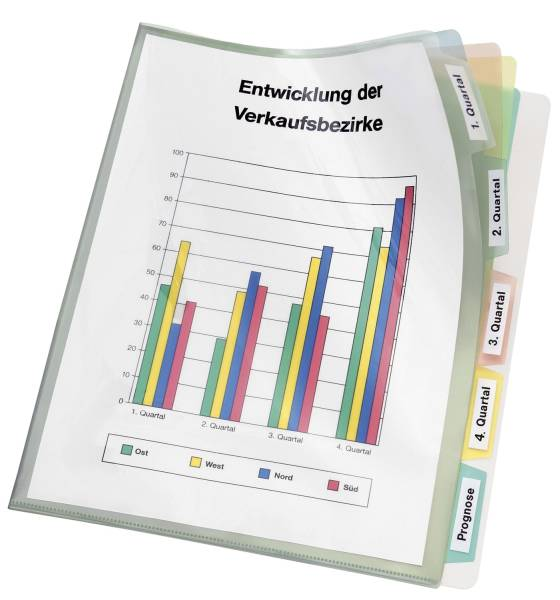 Registerhülle PP, A4, transparente mit farbiger 5 fach Unterteilung