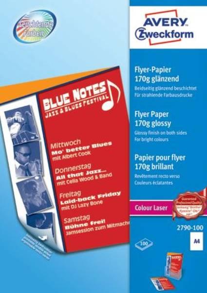 2790 100 Colour Laser Flyer Papier, DIN A4, beidseitig beschichtet glänzend, 170 g qm, 100 Blatt