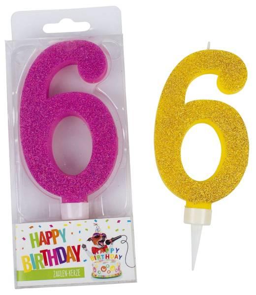 TRENDHAUS Geburtstagskerze Zahl 6 sort. 942043 Maxi Glitter