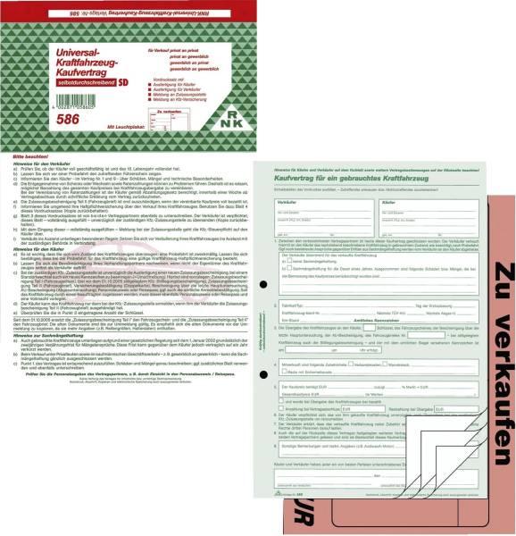 Kaufvertrag für ein gebr Kfz SD, 1x4 Blatt, DIN A4, mit Verkaufsplakat