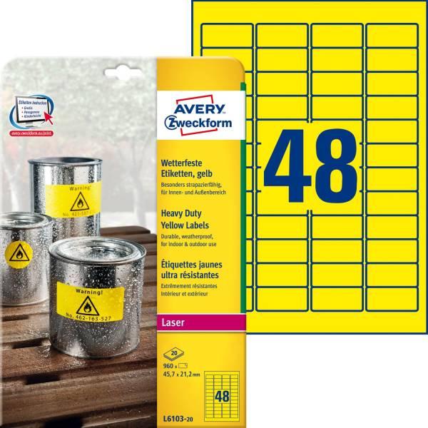 AVERY ZWECKFORM Universaletikett 45,7x21,2 gel L6103-20