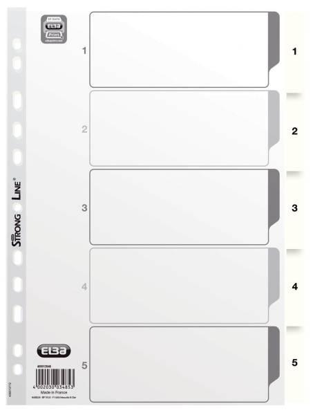 Zahlenregister PP Folie, 1 5, A4, 5 Blatt