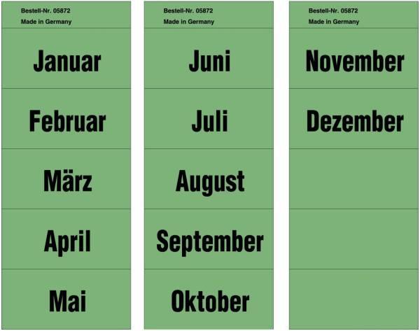 Inhaltsschilder Monatsnamen Beutel mit 96 Stück (= 8x12 Monate), grün