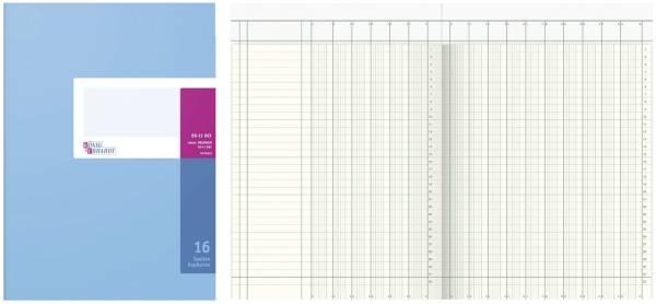 Spaltenbuch Kopfleisten Ausführung A4, 16 Spalten, 40 Blatt, Schema über 2 Seite