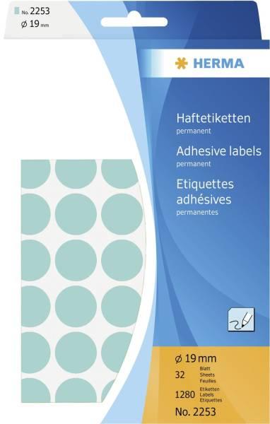 2253 Vielzwecketiketten blau Ø 19 mm rund Papier matt Trägerpapier perforiert 1280 St