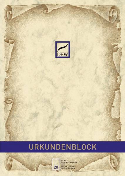 DFW Urkundenblock A4 chamois 880110 Marmor o.Druck
