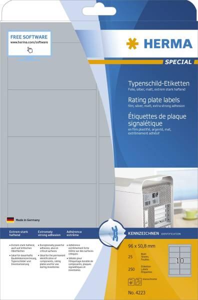 4223 Typenschildetiketten A4 silber 96x50,8 mm extrem stark haftend Folie matt 250 St
