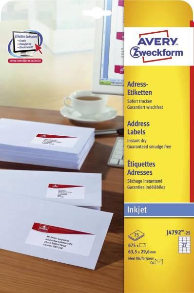 J4792 25 Adress Etiketten 63,5 x 29,6 mm, weiß, 675 Etiketten 25 Blatt, permanent, für C6 Kuverts