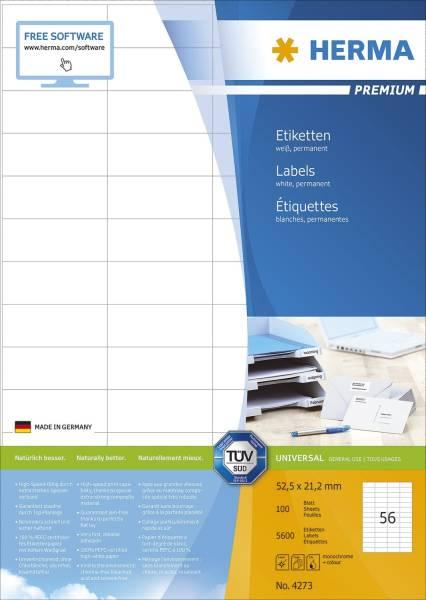 4273 Etiketten Premium A4, weiß 52,5x21,2 mm Papier matt 5600 St