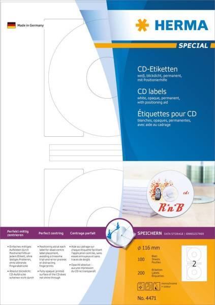 HERMA Universaletiketten CD 116D weiß 4471 CD-Rom/son