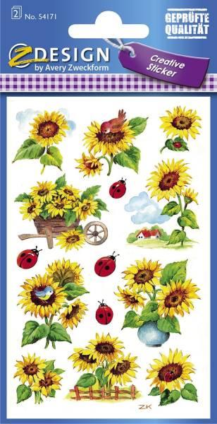 Z Design 54171, Deko Sticker, Sonnenblumen, 2 Bogen 28 Sticker