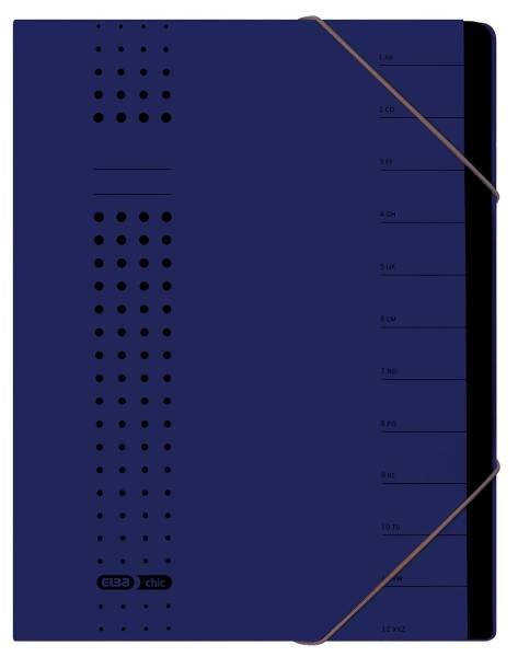 Ordnungsmappe chic, Karton (RC), 450 g qm, A4, 12 Fächer, dunkelblau