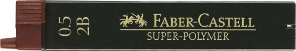 Feinmine SUPER POLYMER, 0,5 mm, 2B, tiefschwarz, 12 Minen