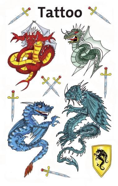 AVERY ZWECKFORM Tattoo Drachen farbig 56404