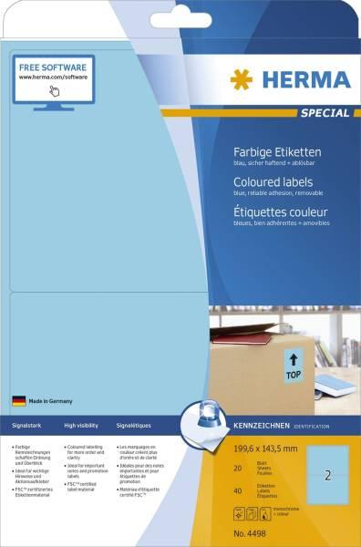 4498 Etiketten blau 199,6x143,5 mm Papier matt 40 St ablösbar