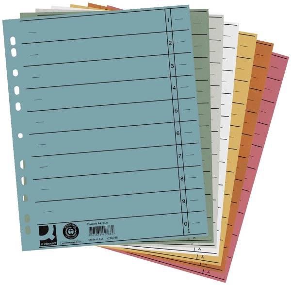 Trennblätter durchgefärbt A4 Überbreite, sortiert (5 Farben), 100 Stück (5x20)