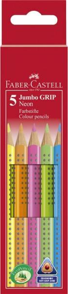 Buntstift Jumbo GRIP Neon 5 Farben sortiert, Kartonetui