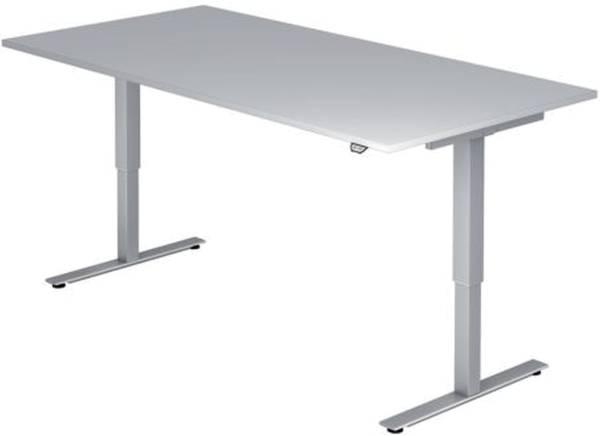 Sitz Steh Schreibtisch mit T Fuß 120 x 72 119 x 80 cm, elektr höhenverstellbar, Grau