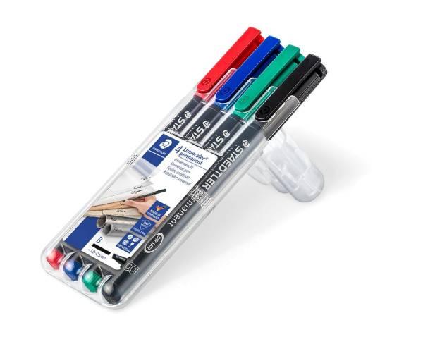 Feinschreiber Universalstift Lumocolor permanent, B, Box mit 4 Farben®
