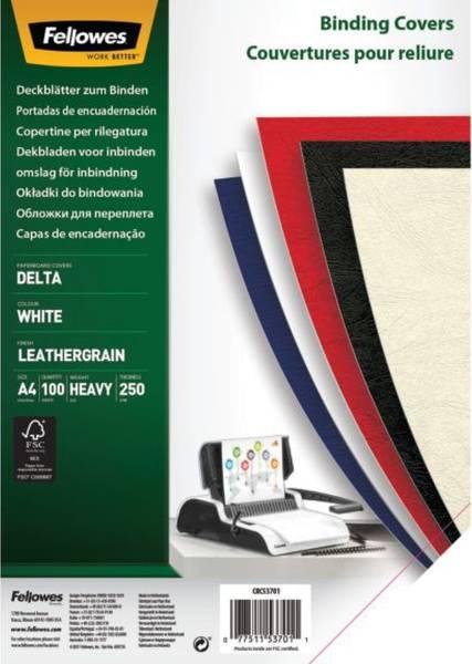 FELLOWES Einbanddeckel Leder A4 weiß FW5370104 100ST 250g