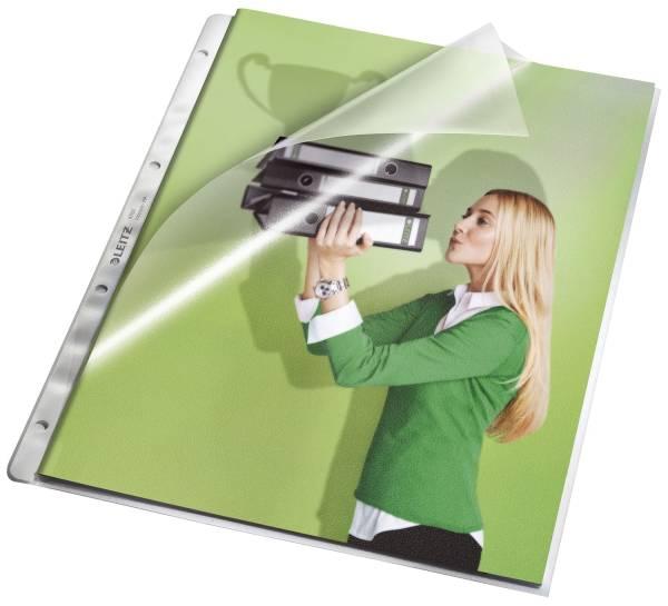 4780 Prospekthüllen, oben und Lochseite offen mit Papiereinlage, genarbt 0,13 mm, A4