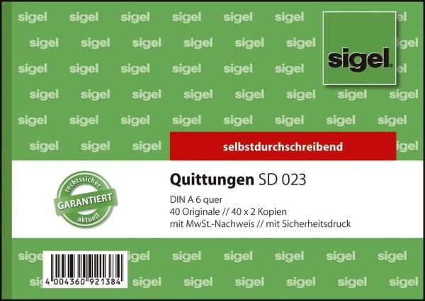 Quittungen mit Sicherheitsdruck A6 quer, 1 und 2 Blatt bedruckt, SD, MP, 3 x 40 Blatt