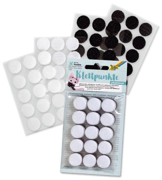 FOLIA Klettpunkte 30ST schwarz/weiß sortiert 2301 Ø 2cm selbstklebend
