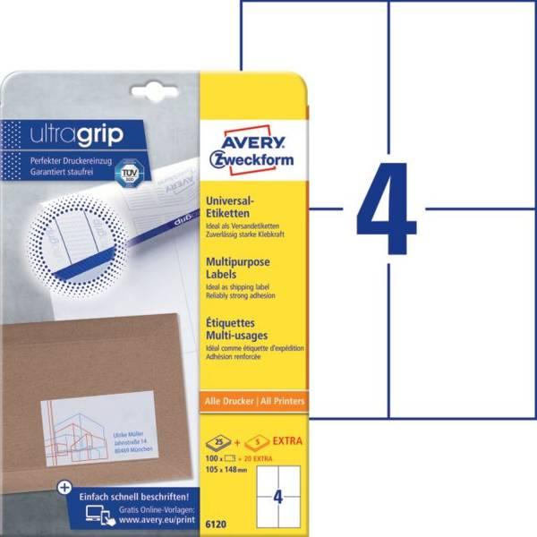 6120 Universal Etiketten, 105 x 148 mm, Deutsche Post INTERNETMARKE, 30 Bogen 120 Etiketten, weiß