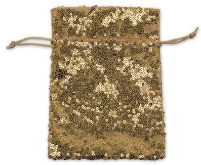 Geschenksäckchen Pailletten gold, 10 x 13 cm