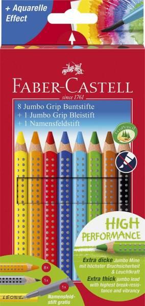 Buntstift Jumbo GRIP 8 Farben, Namensfeld und Bleistift im Promotionetui