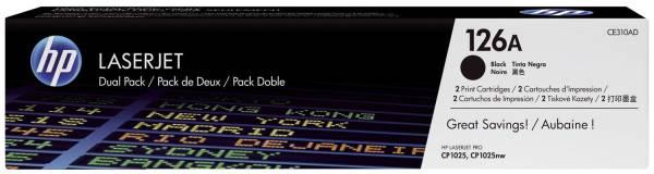 Druckkassetten schwarz, 2 x 1 200 Seiten, CE310AD®