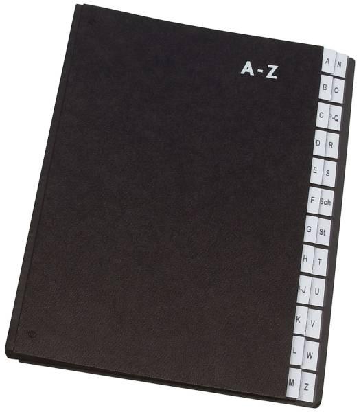 Q-CONNECT Pultordner A-Z schwarz KF04563 24Fächer Papp