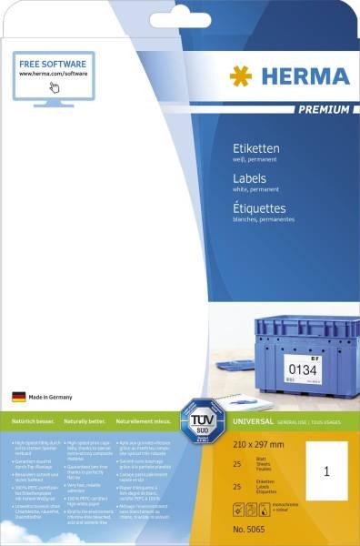 HERMA Universaletiketten 297x210 mm weiß 5065 Premium 25 St. permanent