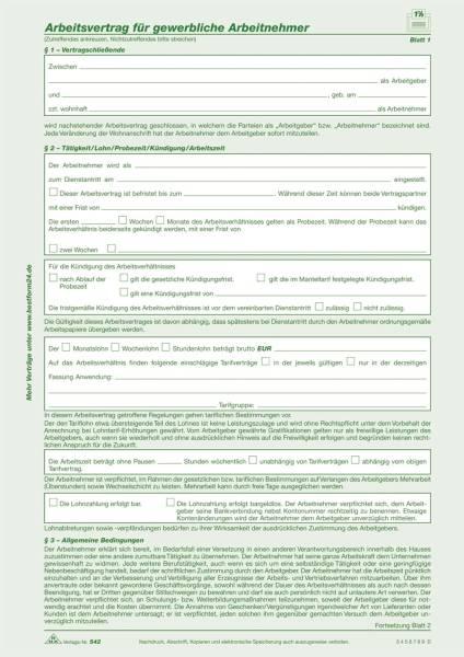 Arbeitsvertrag für gewerbliche Arbeitnehmer SD, 2 x 2 Blatt, DIN A4, 10 Stück