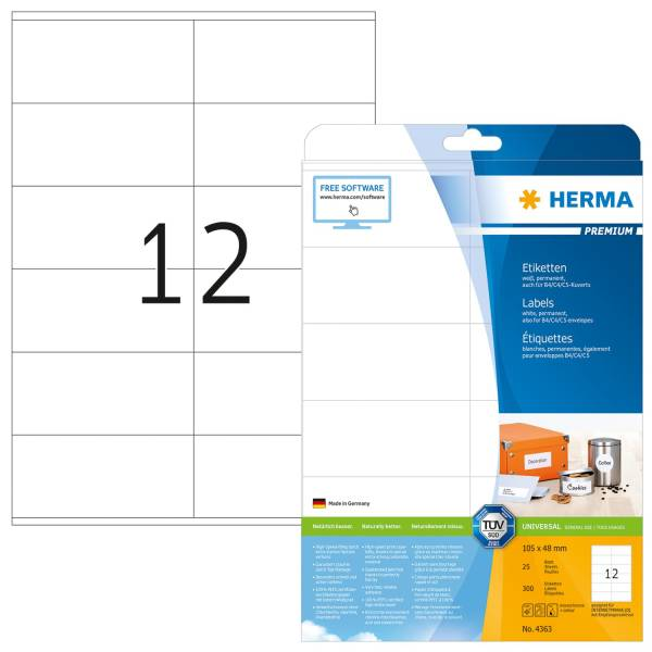 4363 Etiketten Premium A4, weiß 105x48 mm Papier matt 300 St
