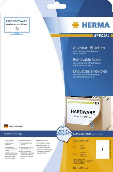 10021 Etiketten A4 weiß 210x297 mm Movables ablösbar Papier matt 25 St