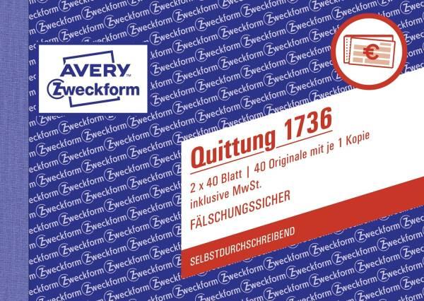 1736 Quittung inkl MwSt A6 quer, MP, SD, fälschungssicher, 2 x 40 Blatt, weiß, gelb